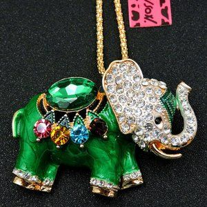 Necklace- NEW- Betsey Johnson Green Elephant